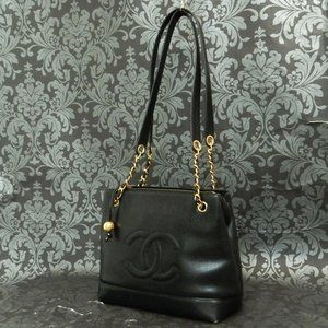 Chanel Black Leather Gold Chain Bag